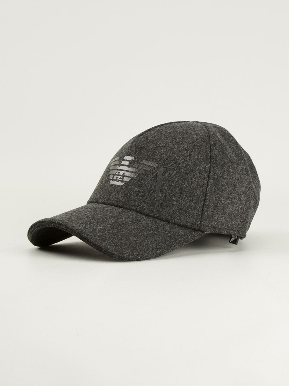 Emporio Armani Logo Print Baseball Cap In Gray For Men