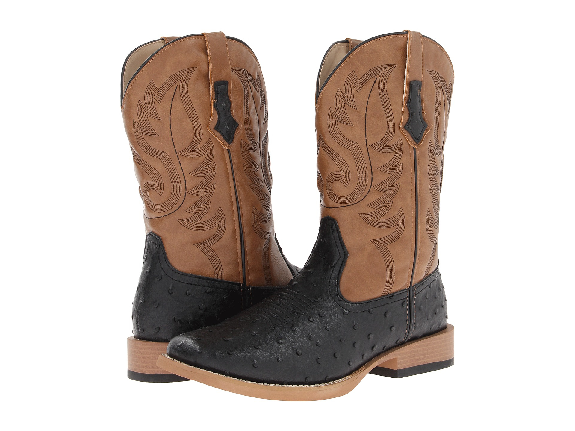 Roper Ostrich Print Square Toe Cowboy Boot In Black For