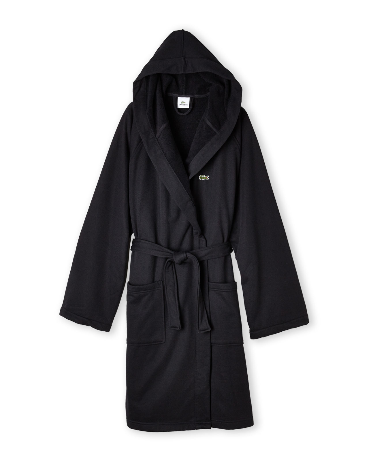 Lyst - Lacoste Hooded Pique Robe in Black for Men