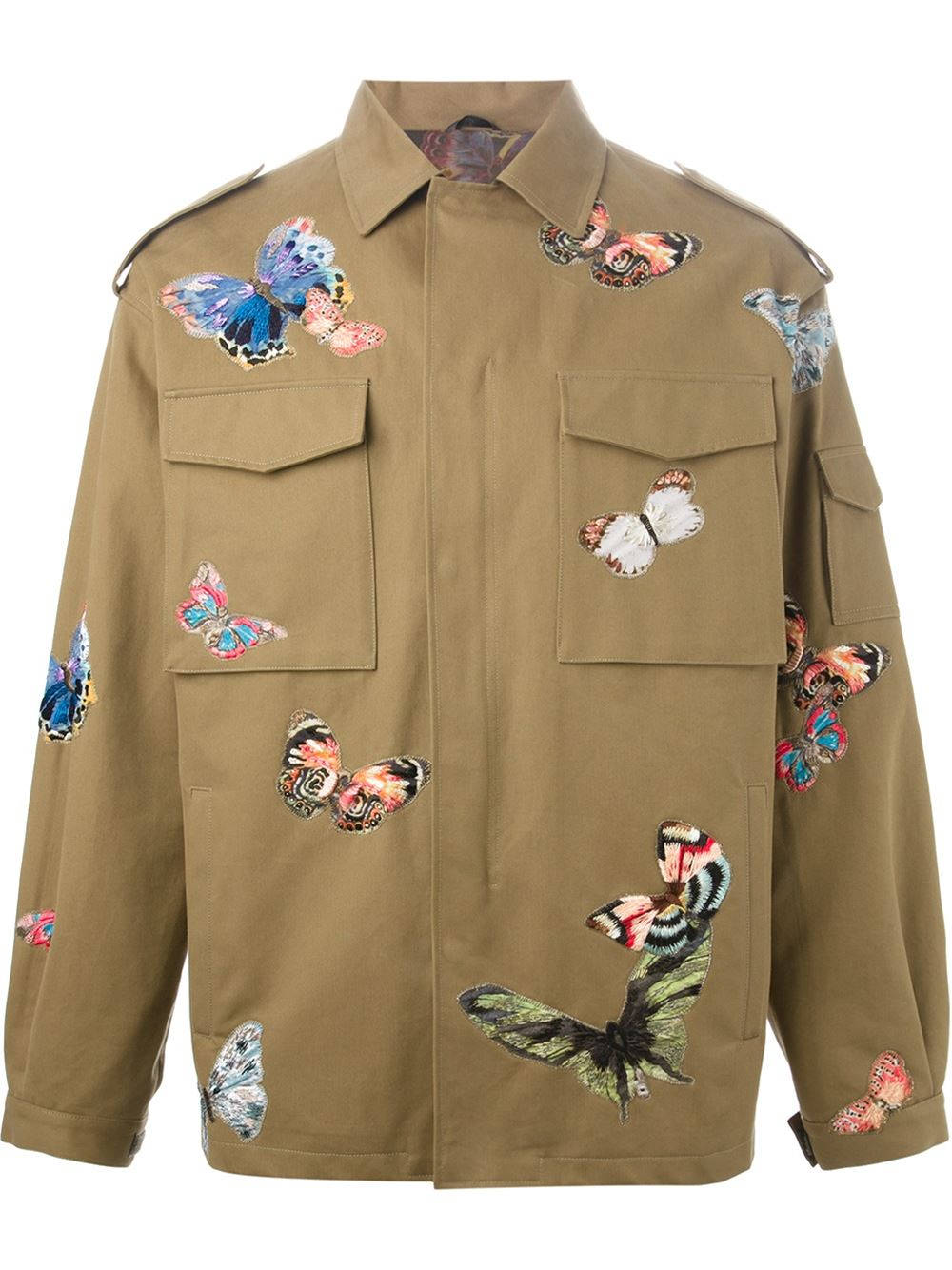 Lyst Valentino Stitched Butterfly Jacket In Green For Men