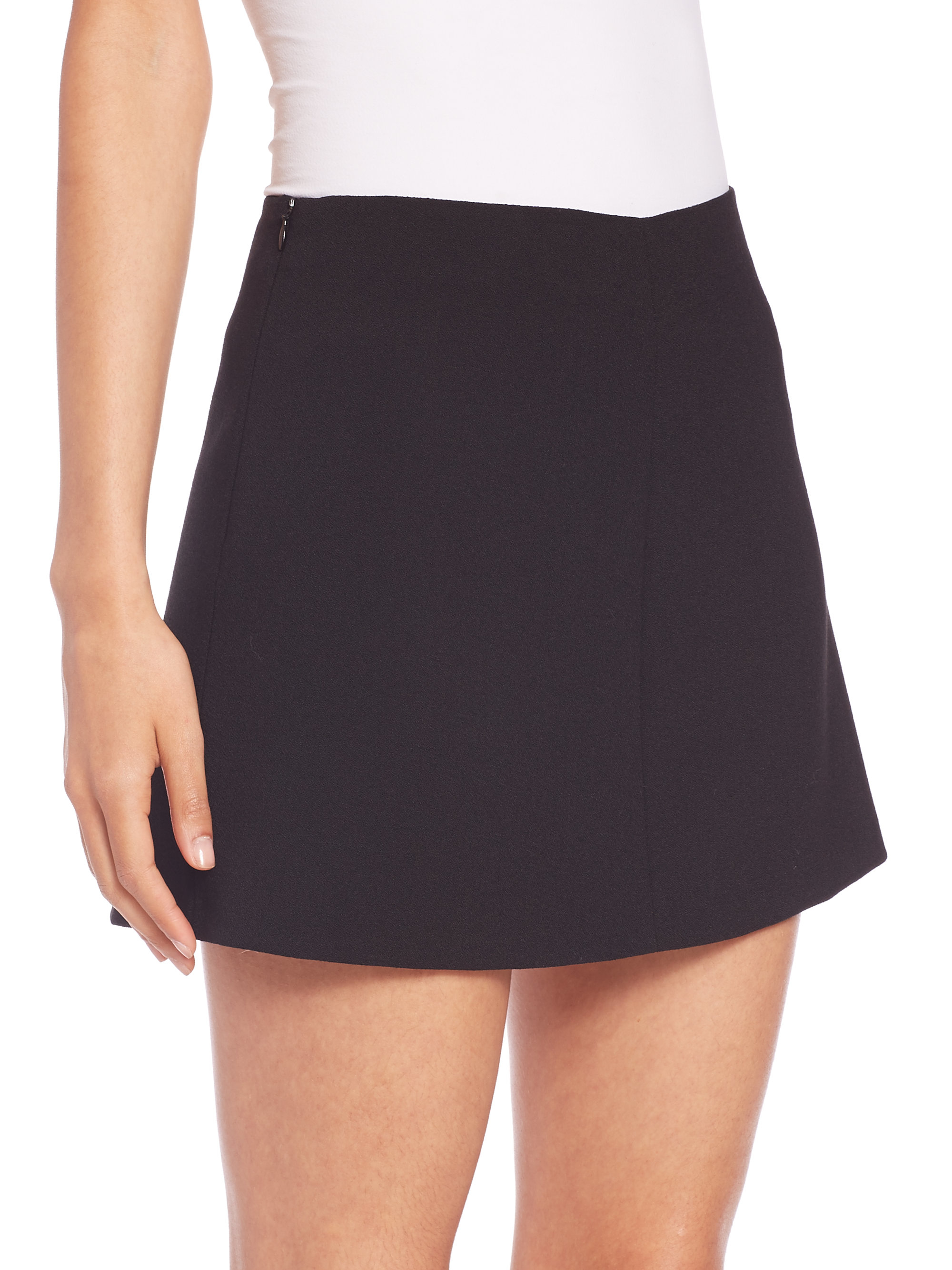Red valentino Stretch Crepe Mini Skirt in Black | Lyst