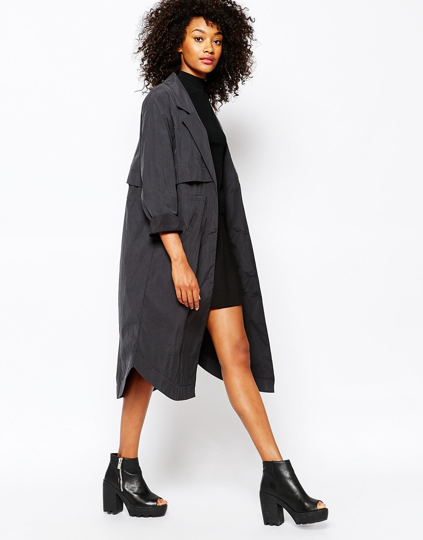 Lyst Monki Lightweight Trench Coat In Black