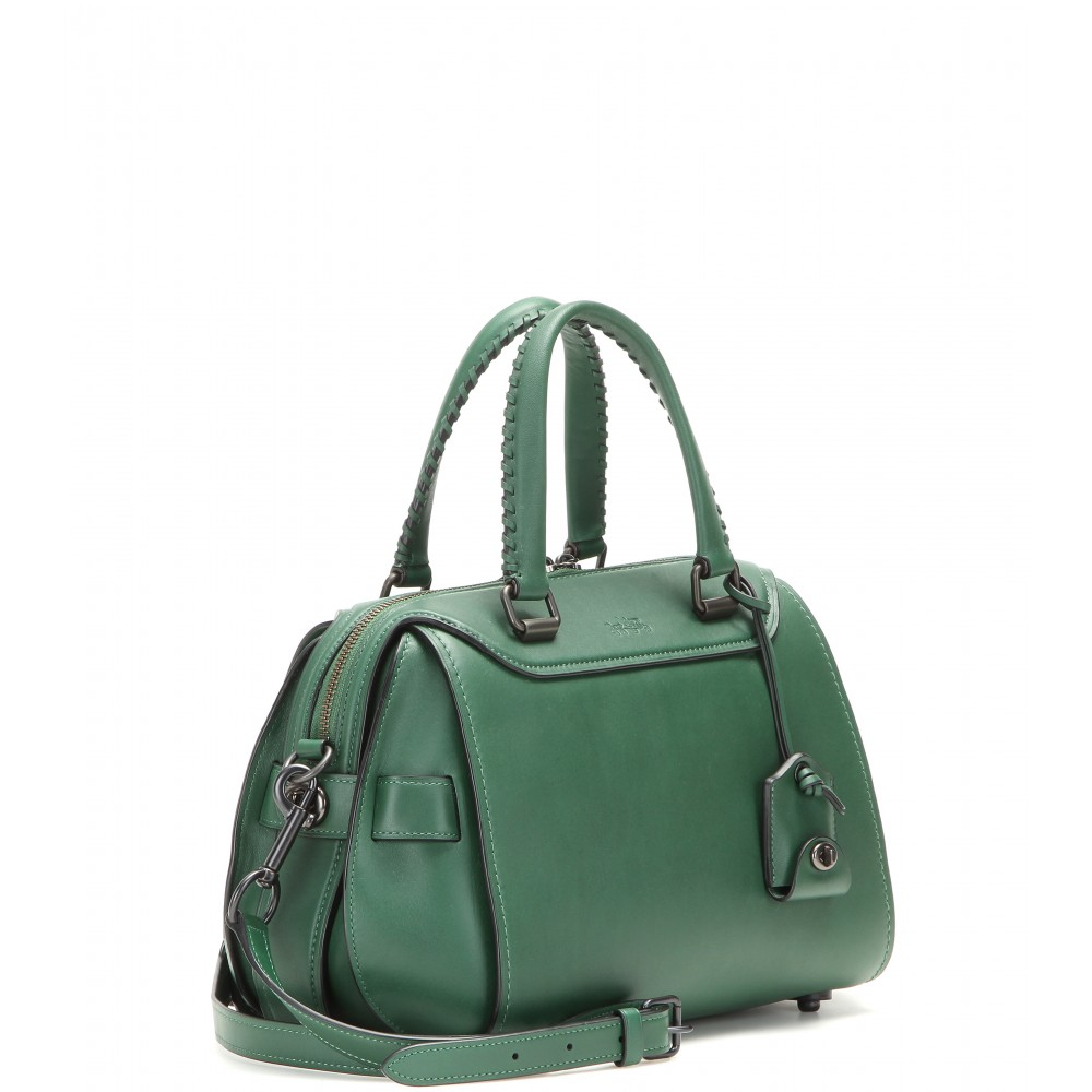 Coach Leather Shoulder Bag in Green | Lyst
