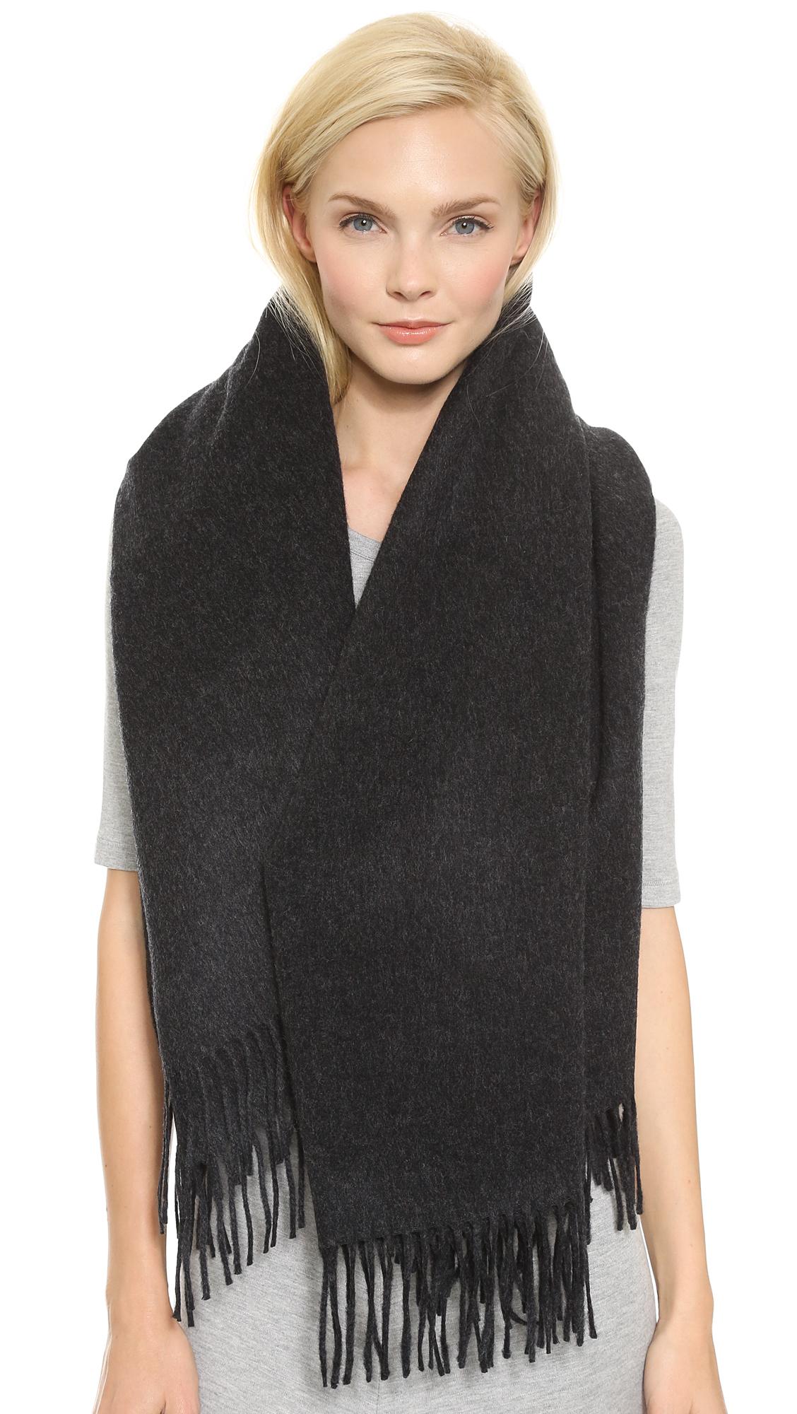 acne alaska oversized scarf navy in black lyst