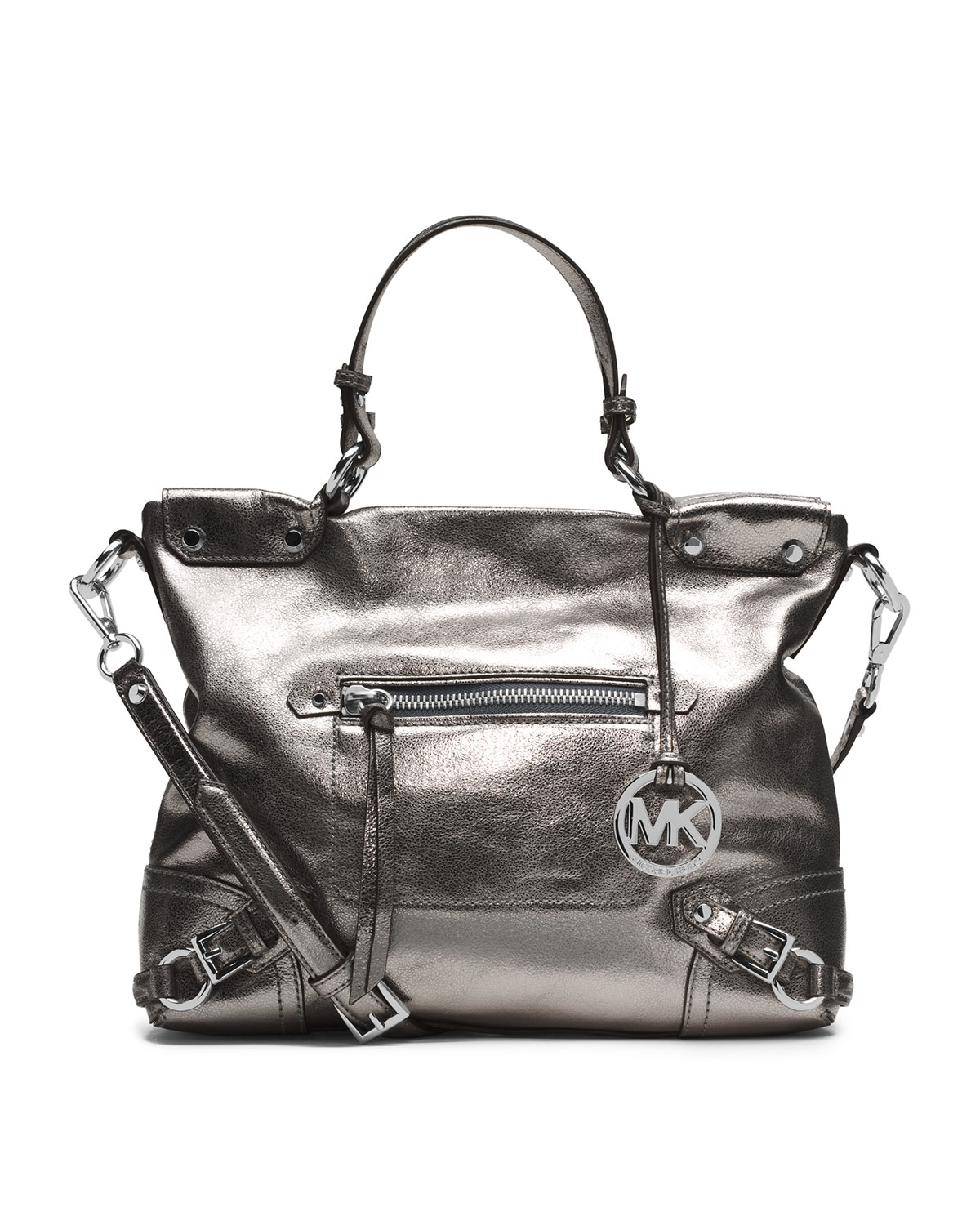 67743cbd42f6f Lyst - MICHAEL Michael Kors Medium Fallon Satchel in Metallic