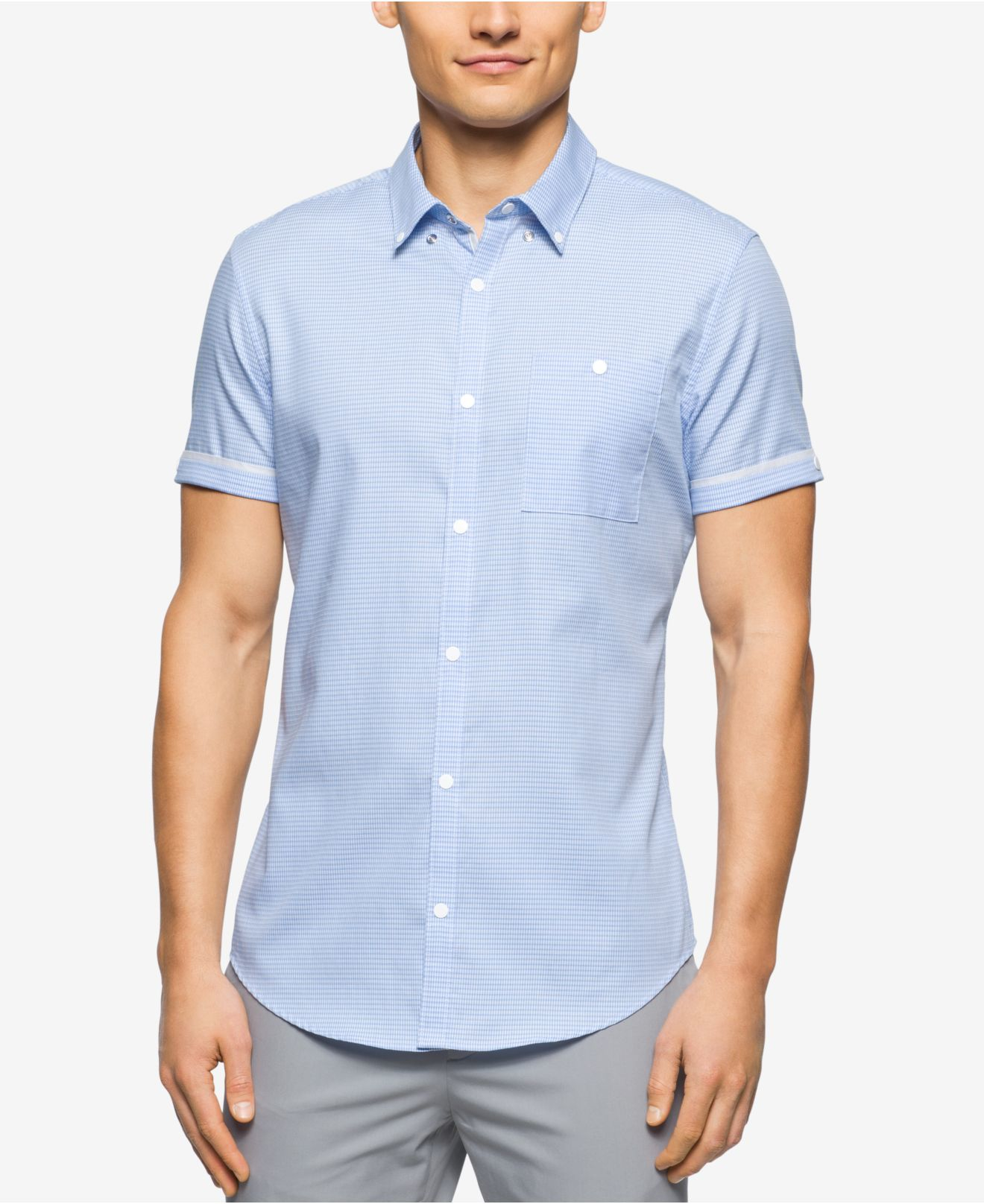 Calvin klein Men's Slim-fit Textured Short-sleeve Shirt in Blue ...