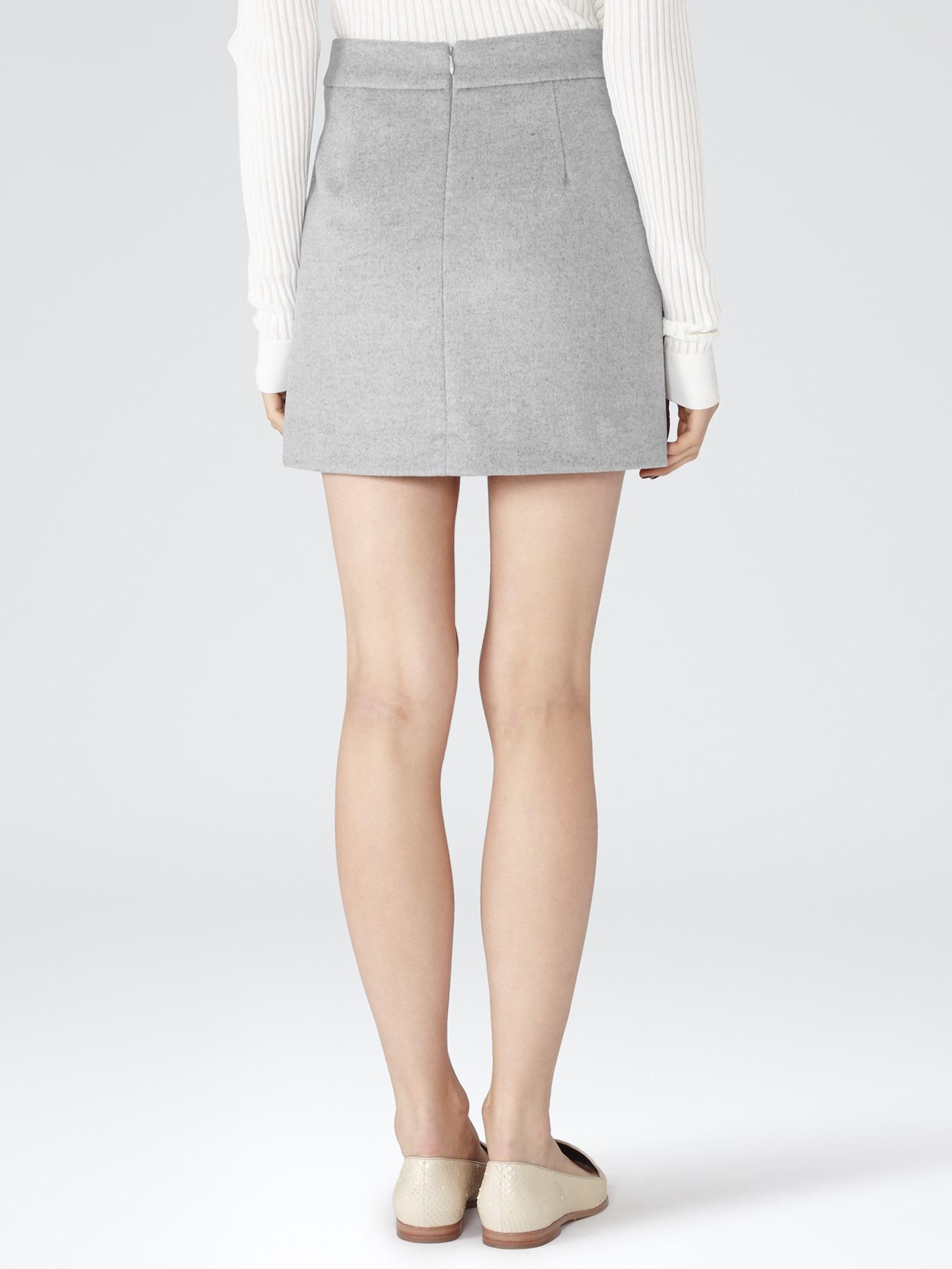 Reiss Wool Tokyo A-line Mini Skirt in Gray | Lyst