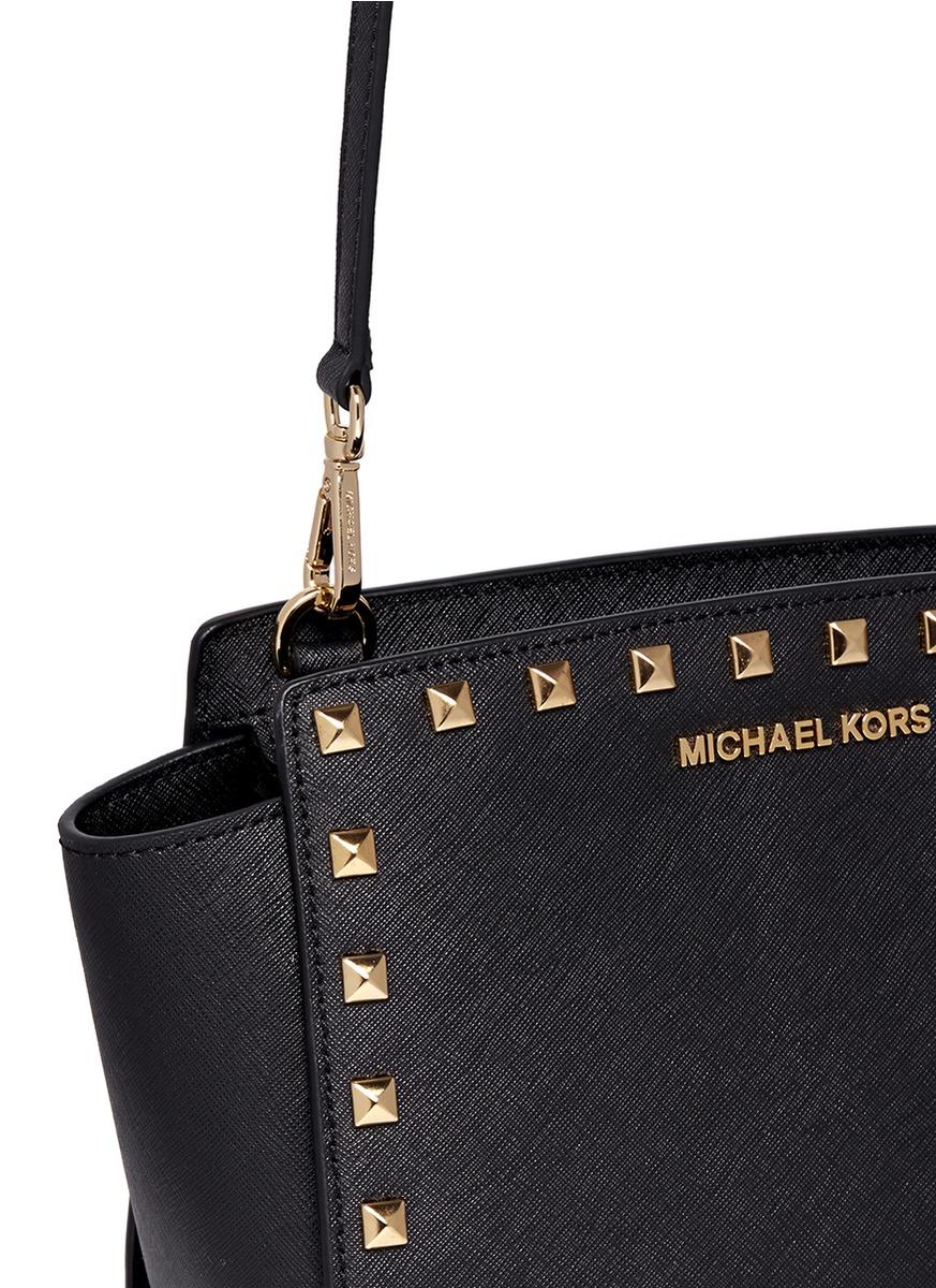 a6ffc75410fbd4 Michael Kors Selma Studded Saffiano-Leather Cross-Body Bag in Black ...
