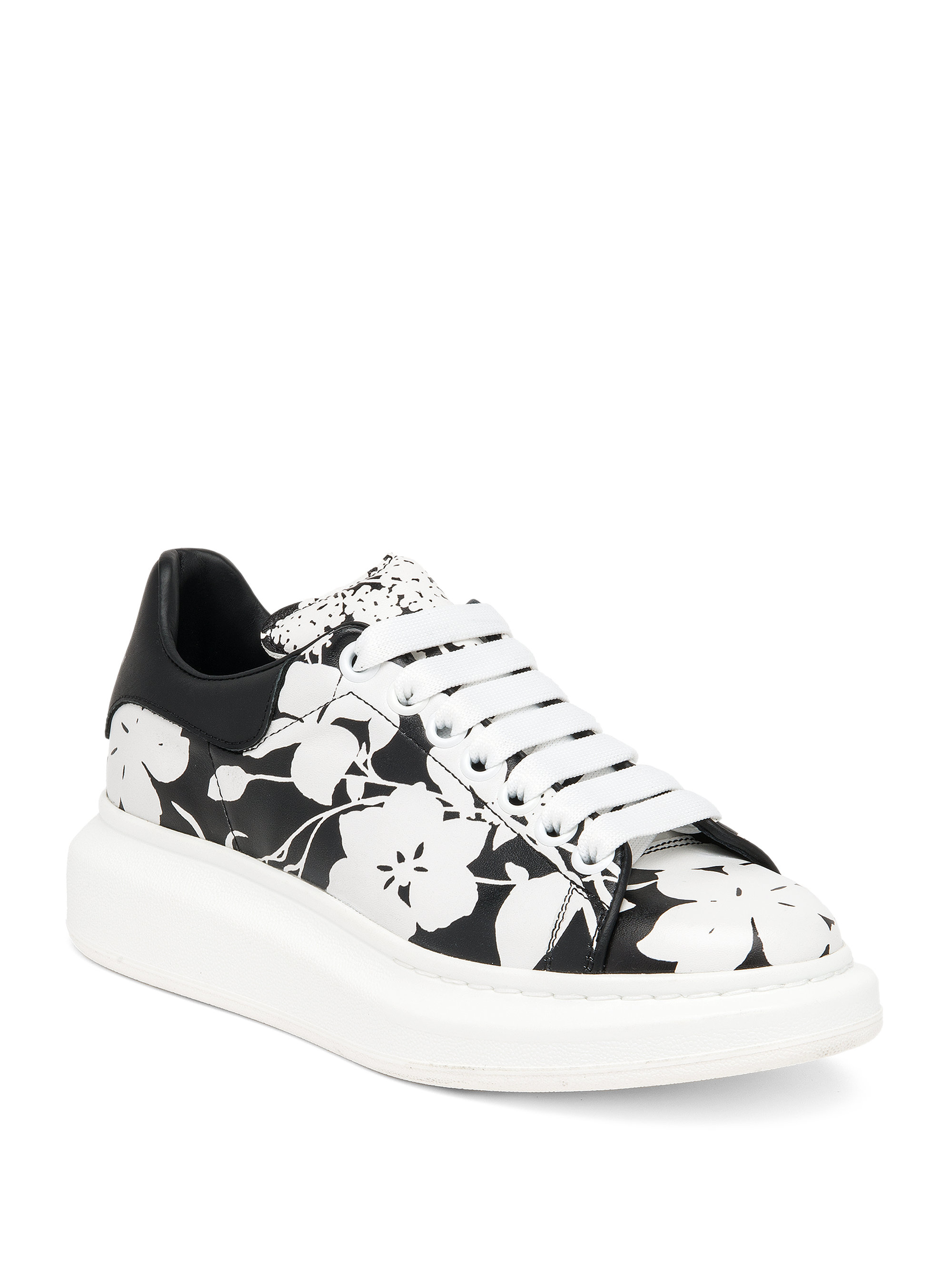 d71fb197cfc8 Lyst - Alexander McQueen Floral-print Leather Platform Sneakers in Black