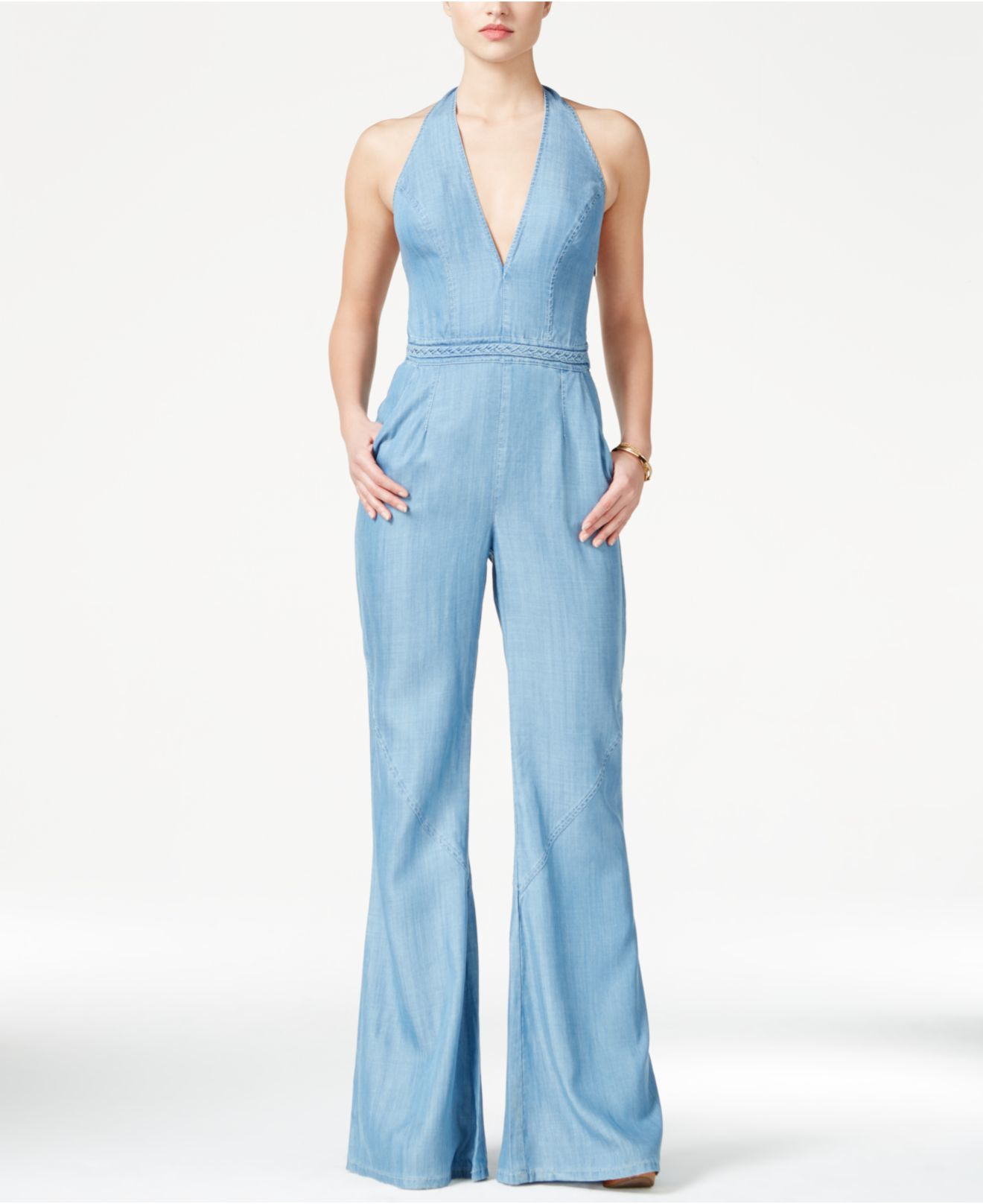 Guess Wide-leg Denim Halter Jumpsuit in Blue | Lyst