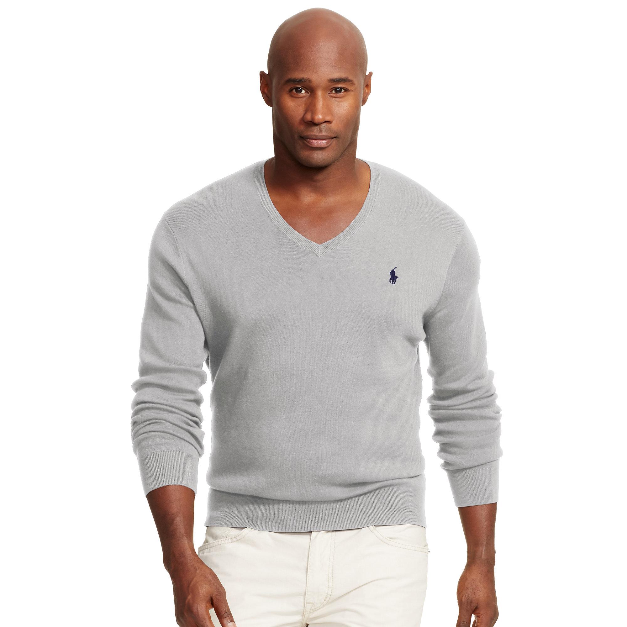 Ralph lauren Pima Cotton V-neck Sweater in Gray for Men | Lyst