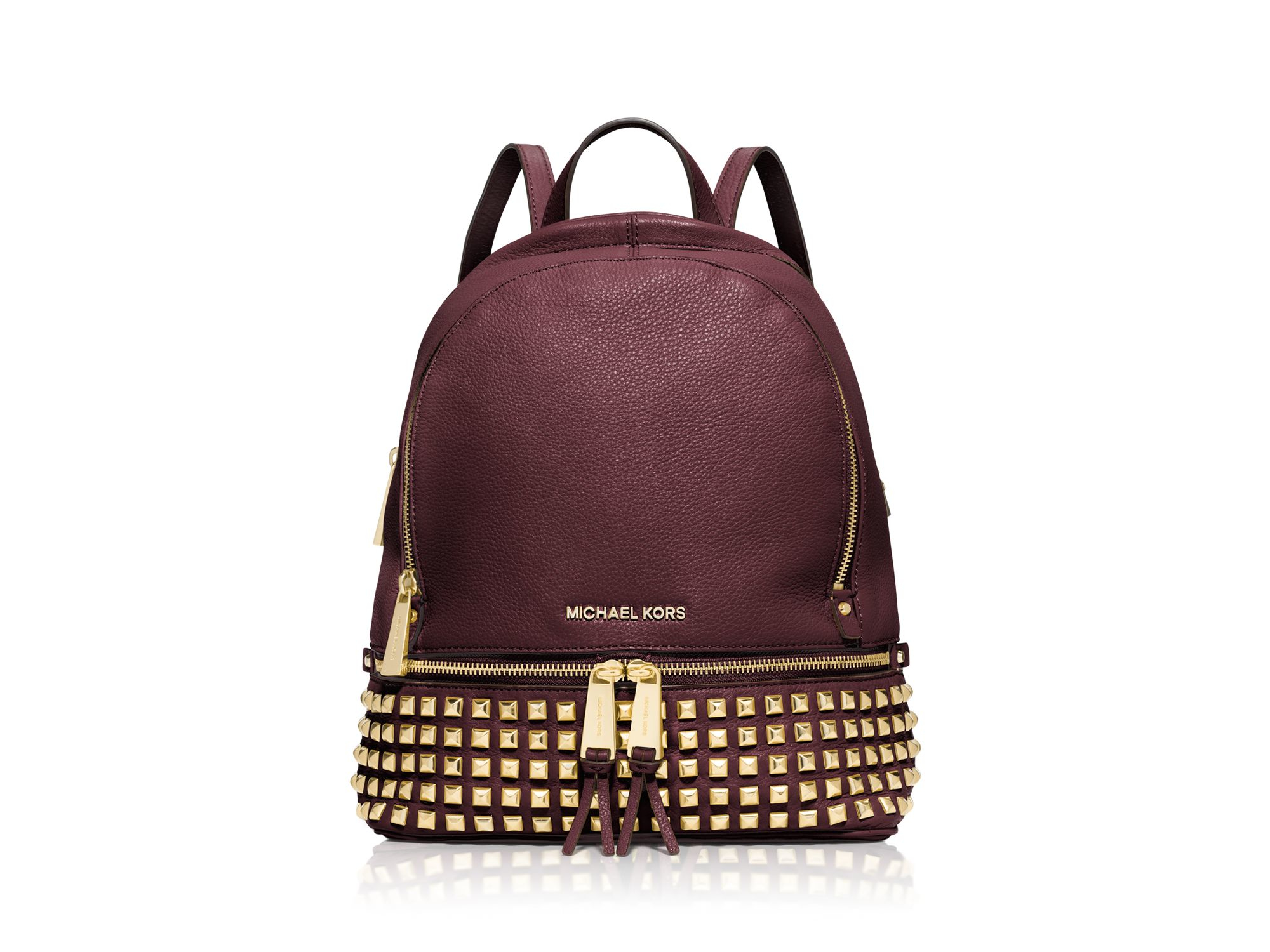 b05cff2954 Lyst - MICHAEL Michael Kors Small Rhea Zip Studded Backpack in Purple