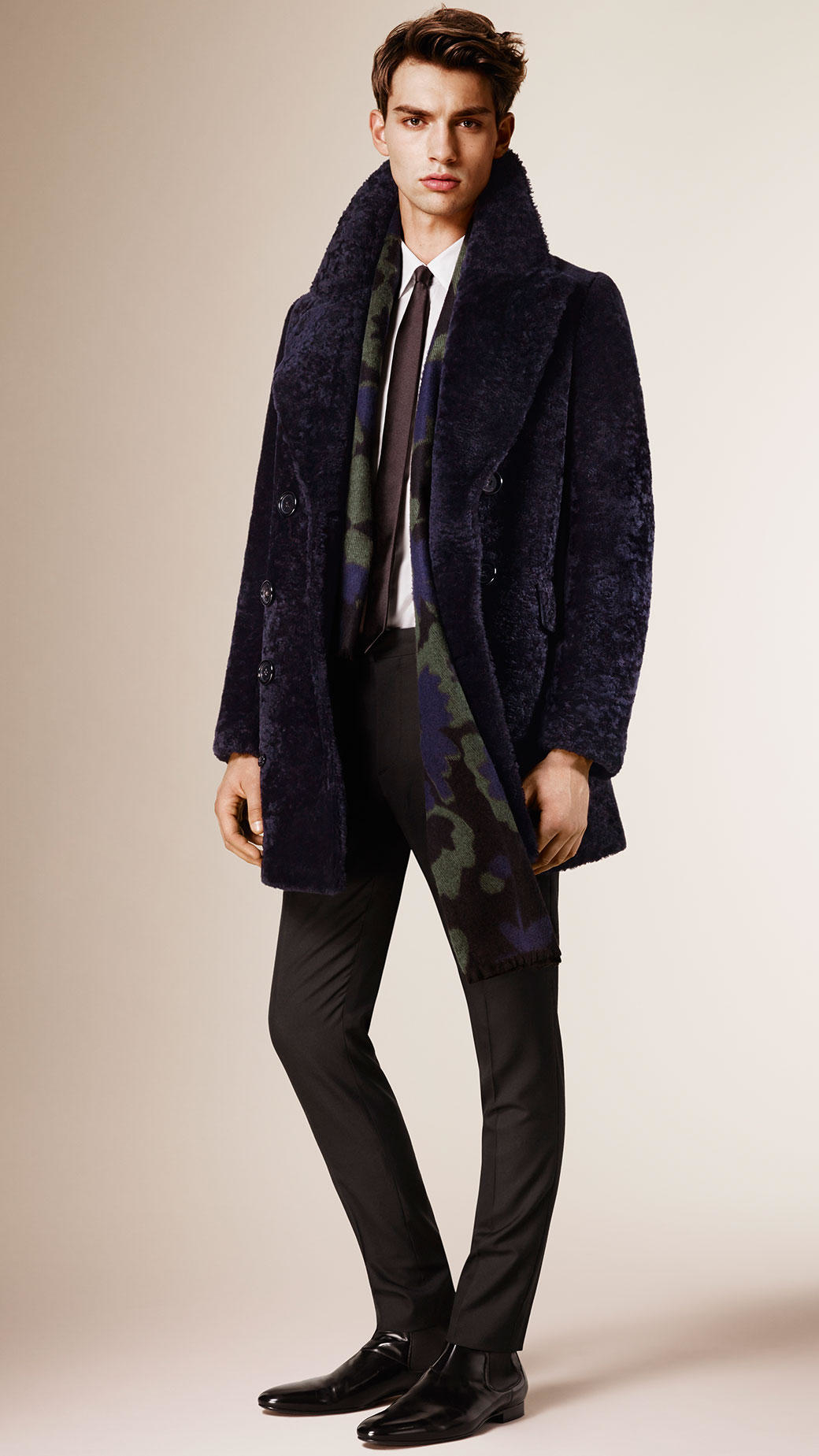 Burberry Shearling Pea Coat in Blue for Men | Lyst
