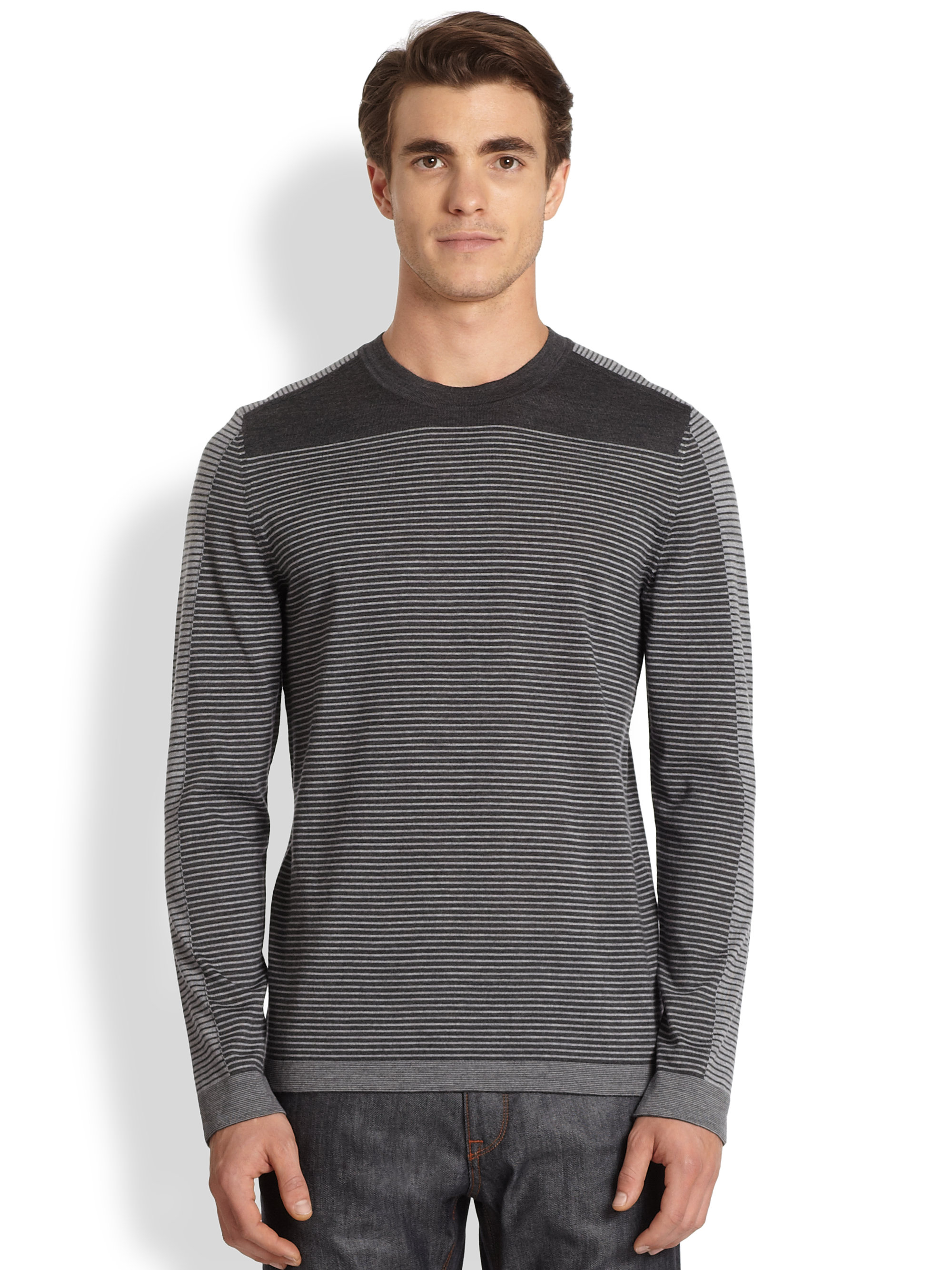 hugo boss merro striped wool sweater in black for men dark blue lyst. Black Bedroom Furniture Sets. Home Design Ideas