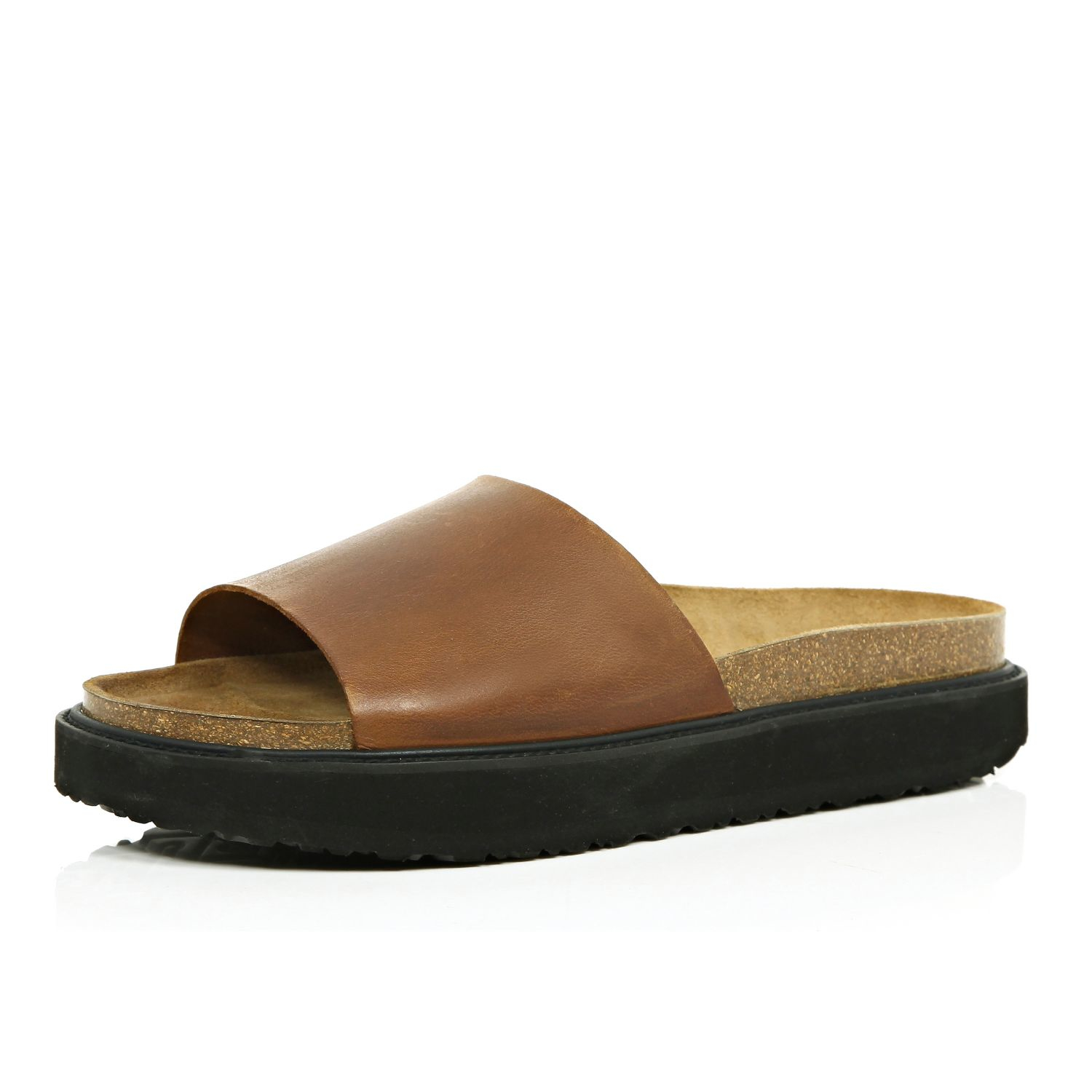 de9851fa8696 Lyst - River Island Brown Leather Chunky Slide Sandals in Brown for Men