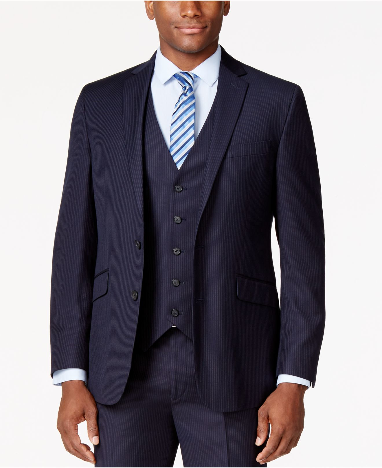 Kenneth cole reaction Navy Vested Pinstripe Slim-fit Suit in Blue ...