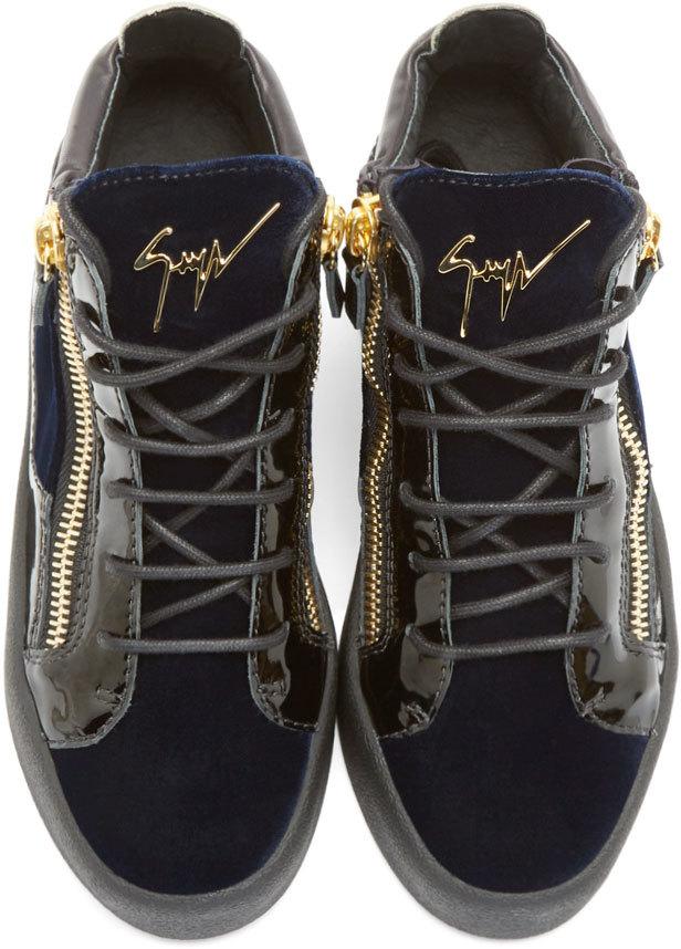 e363d99c48249 Giuseppe Zanotti Navy Velvet Veronica Sneakers in Blue - Lyst