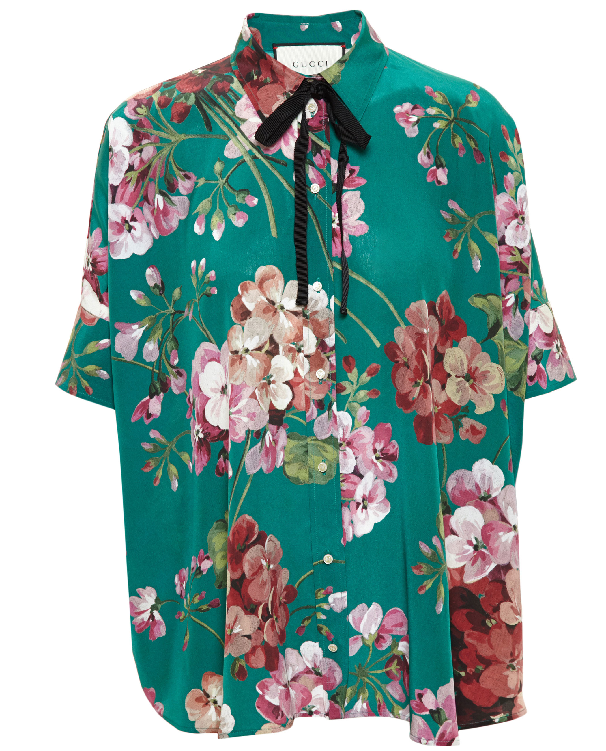 0cb70184fe76 Lyst - Gucci Floral Printed Crepe Shirt
