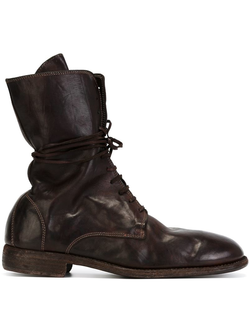 guidi lace up leather boots in brown for lyst