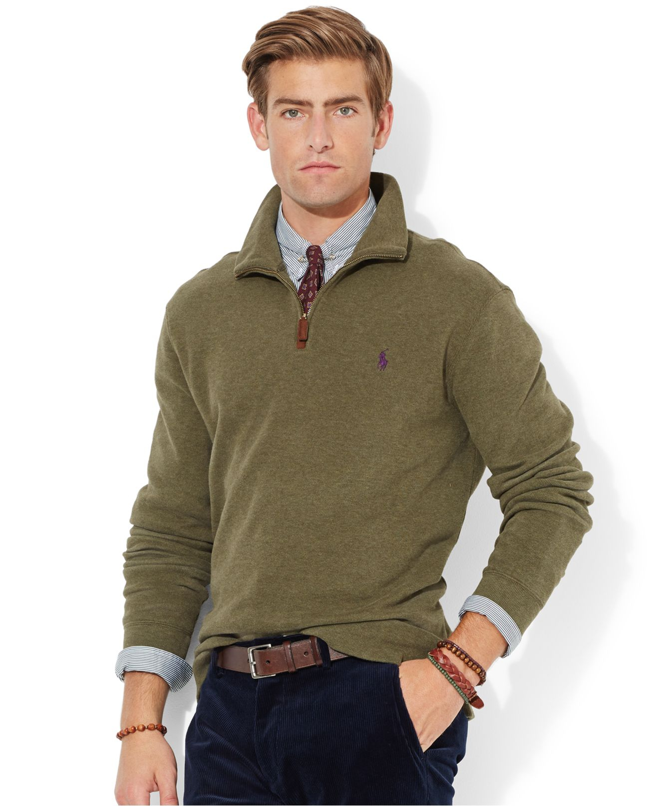 Polo ralph lauren French-Rib Half-Zip Pullover Sweater in Green ...