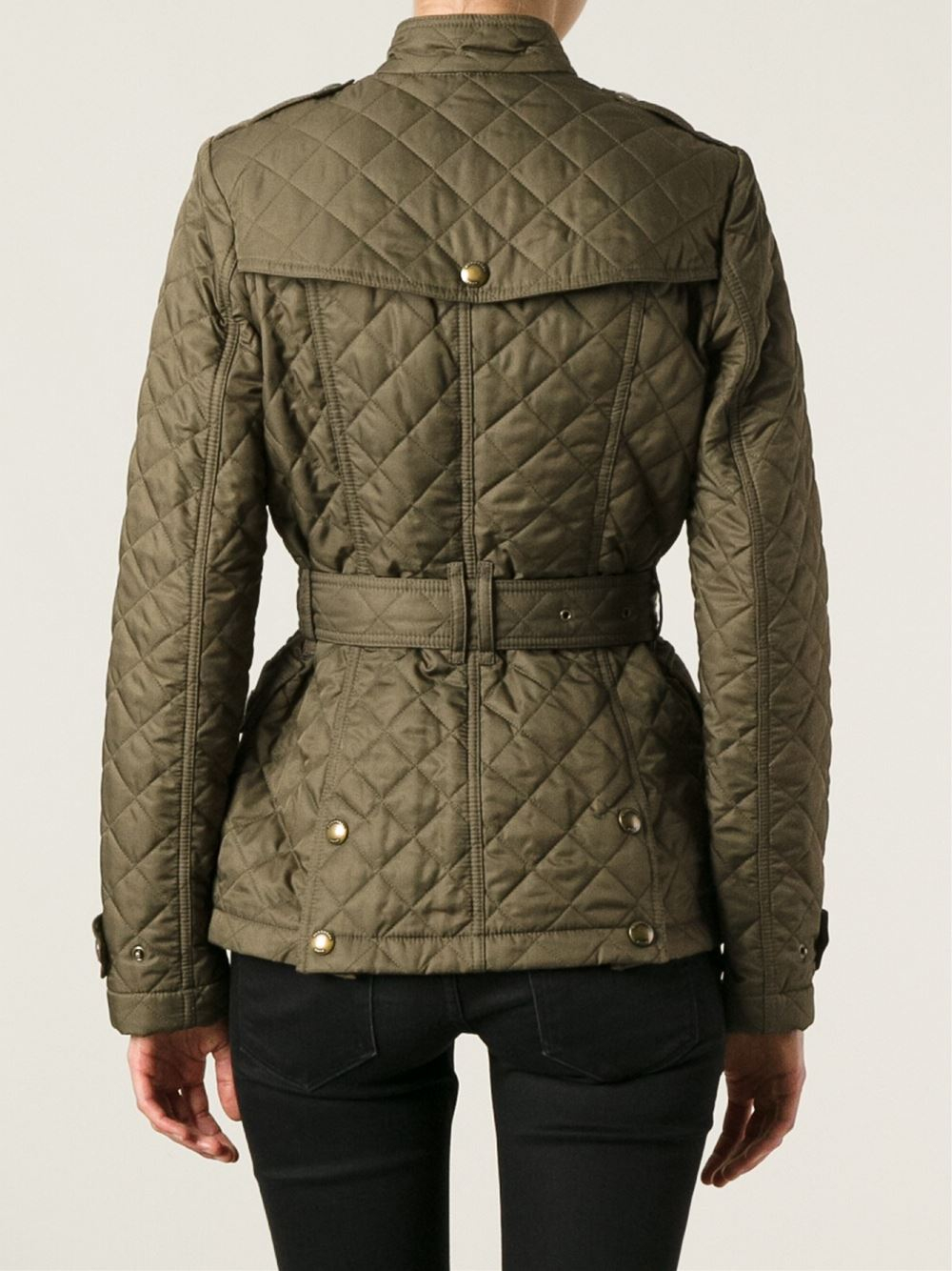 Lyst Burberry Brit Quilted Belted Jacket In Green