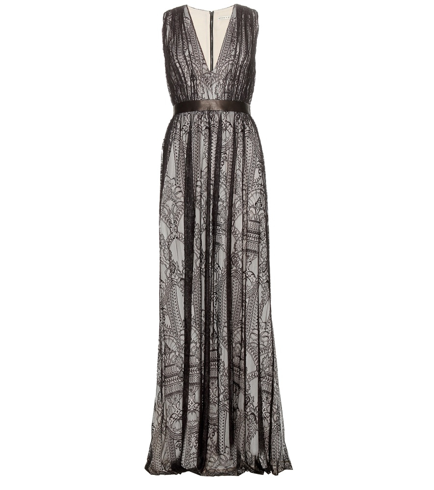 Alice olivia sybil floor length lace dress in gray for Floor length dress