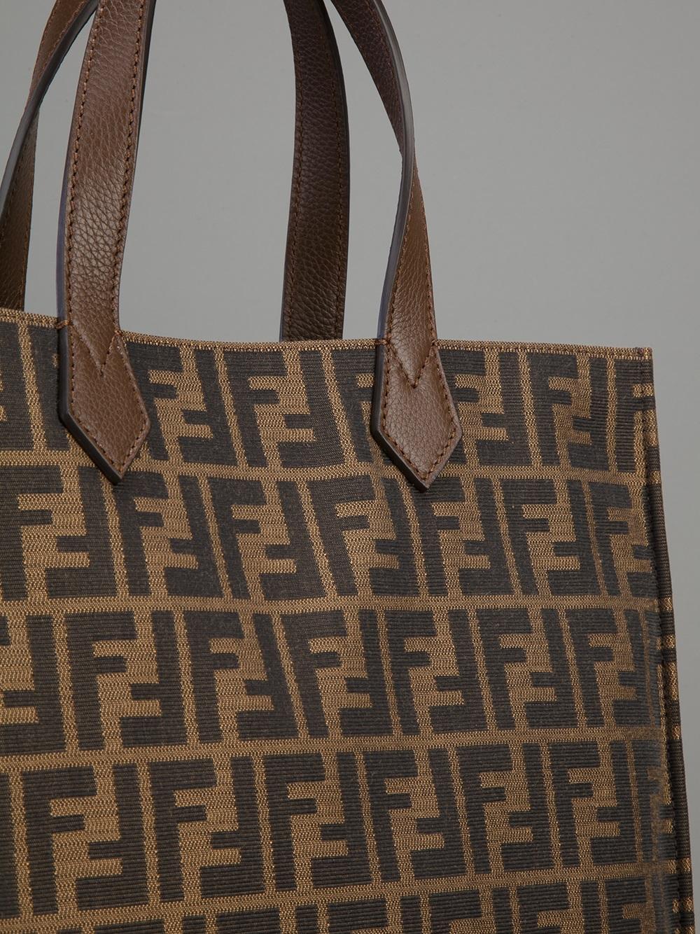 30a8343a59 Lyst - Fendi  Zucca  Shopper Tote in Brown