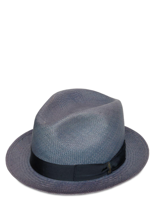 Lyst - Borsalino Quito Straw Small Brim Panama Hat in Gray for Men 53d8e40a45a