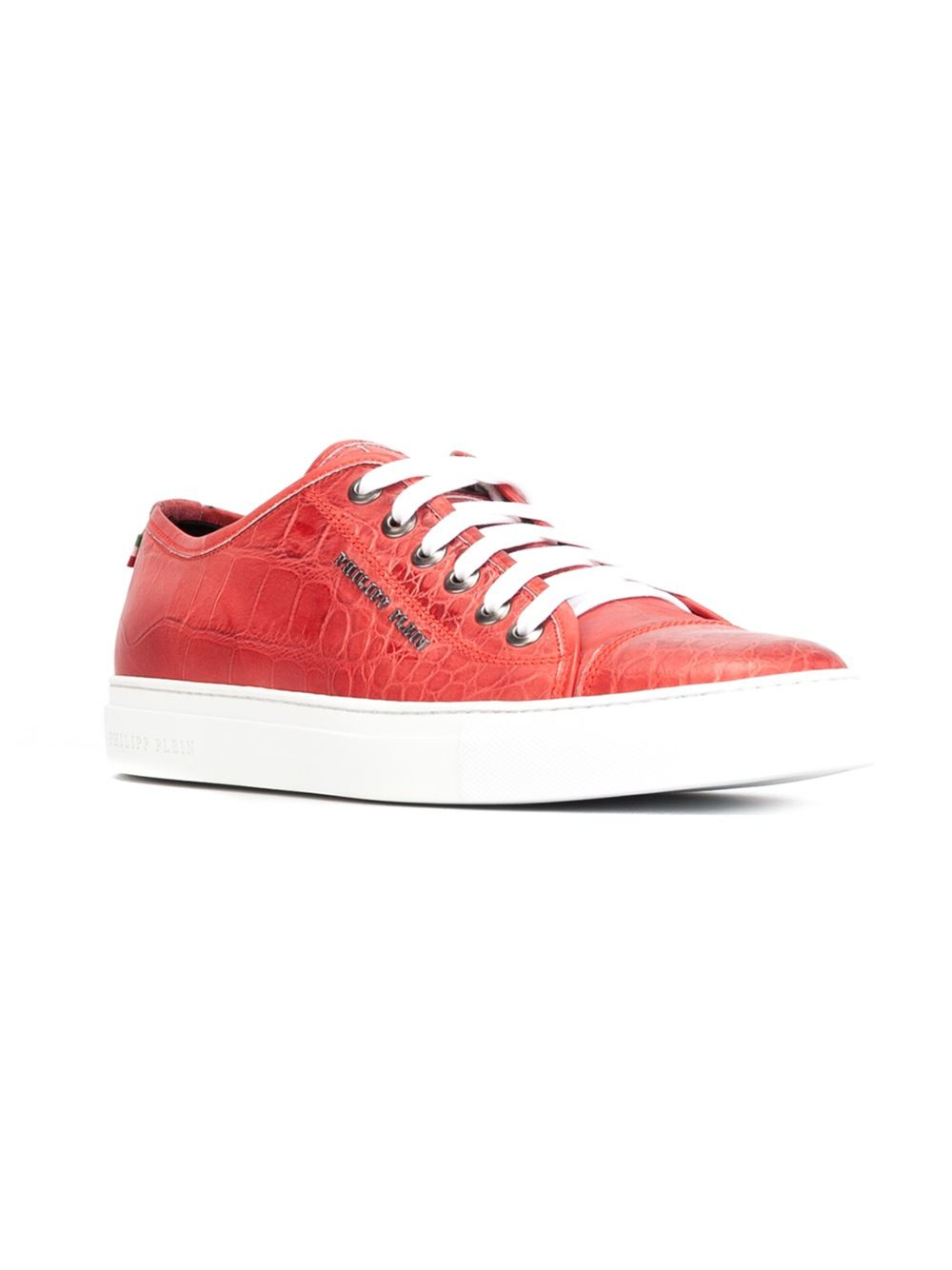 Philipp plein Believe Leather Low-Top Sneakers in Red for ...