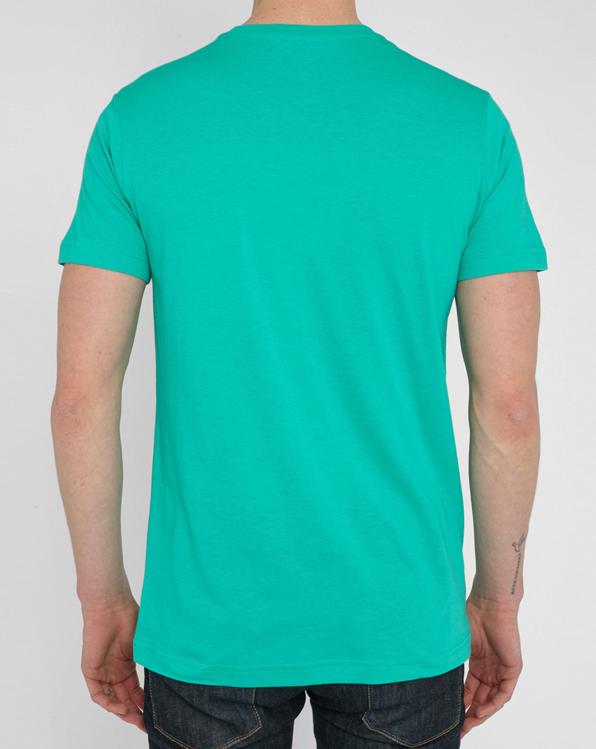 Lacoste aqua classic logo v neck t shirt in green for men for Aqua blue color t shirt