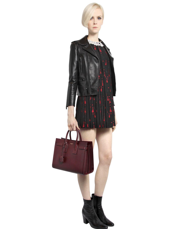 Classic Small Sac De Jour Bag In Dark Beige Grained Leather