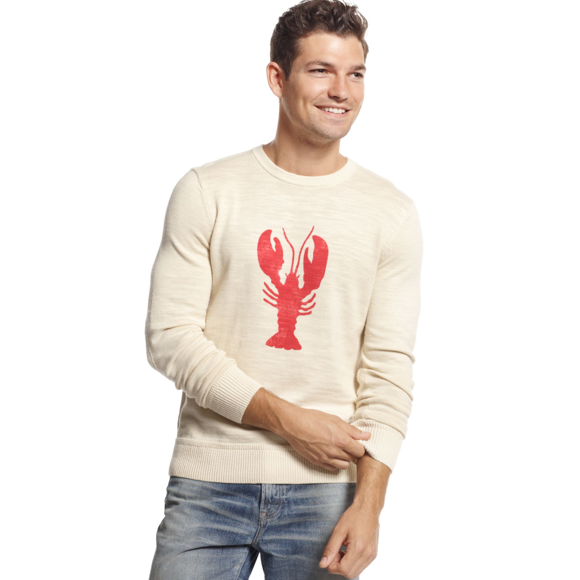 Tommy Hilfiger Lobster Print Sweater in White for Men (Ivory Coast) | Lyst