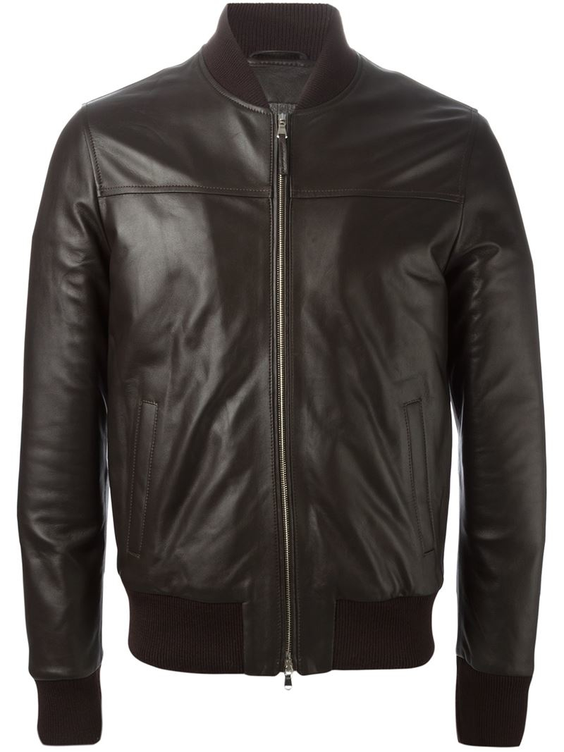 Eleventy Leather Bomber Jacket in Brown for Men | Lyst