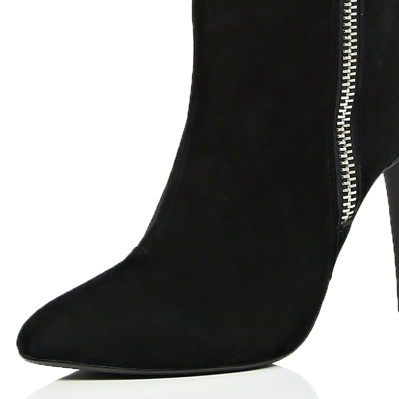 river island black suede zip knee high boots in black lyst