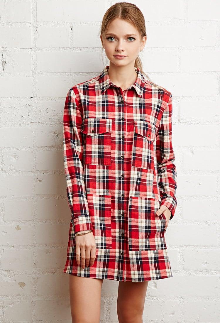 Lyst Forever 21 Tartan Plaid Shirt Dress In Red