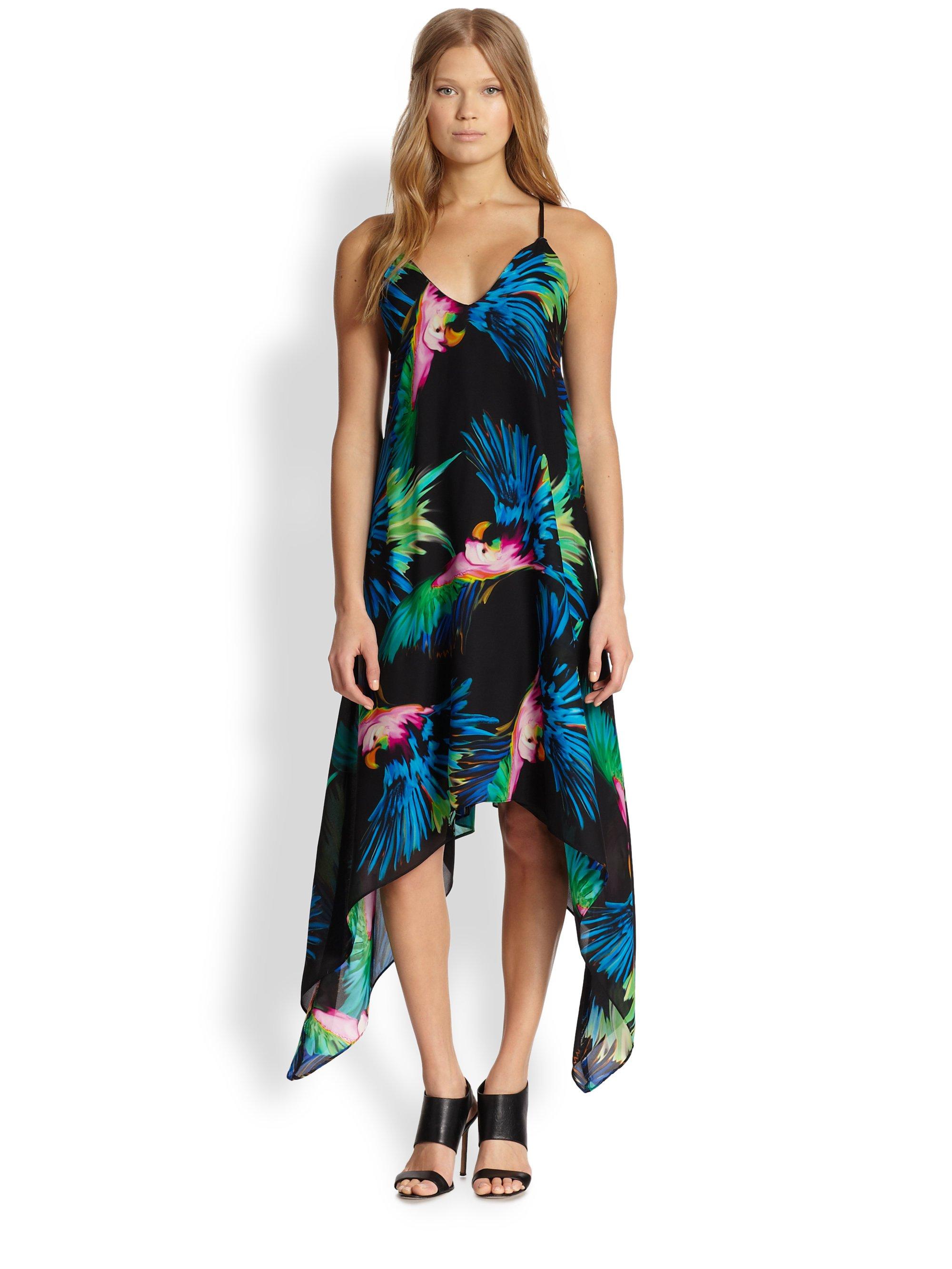 Milly Silk Printed Handkerchief Hem Dress In Black Lyst