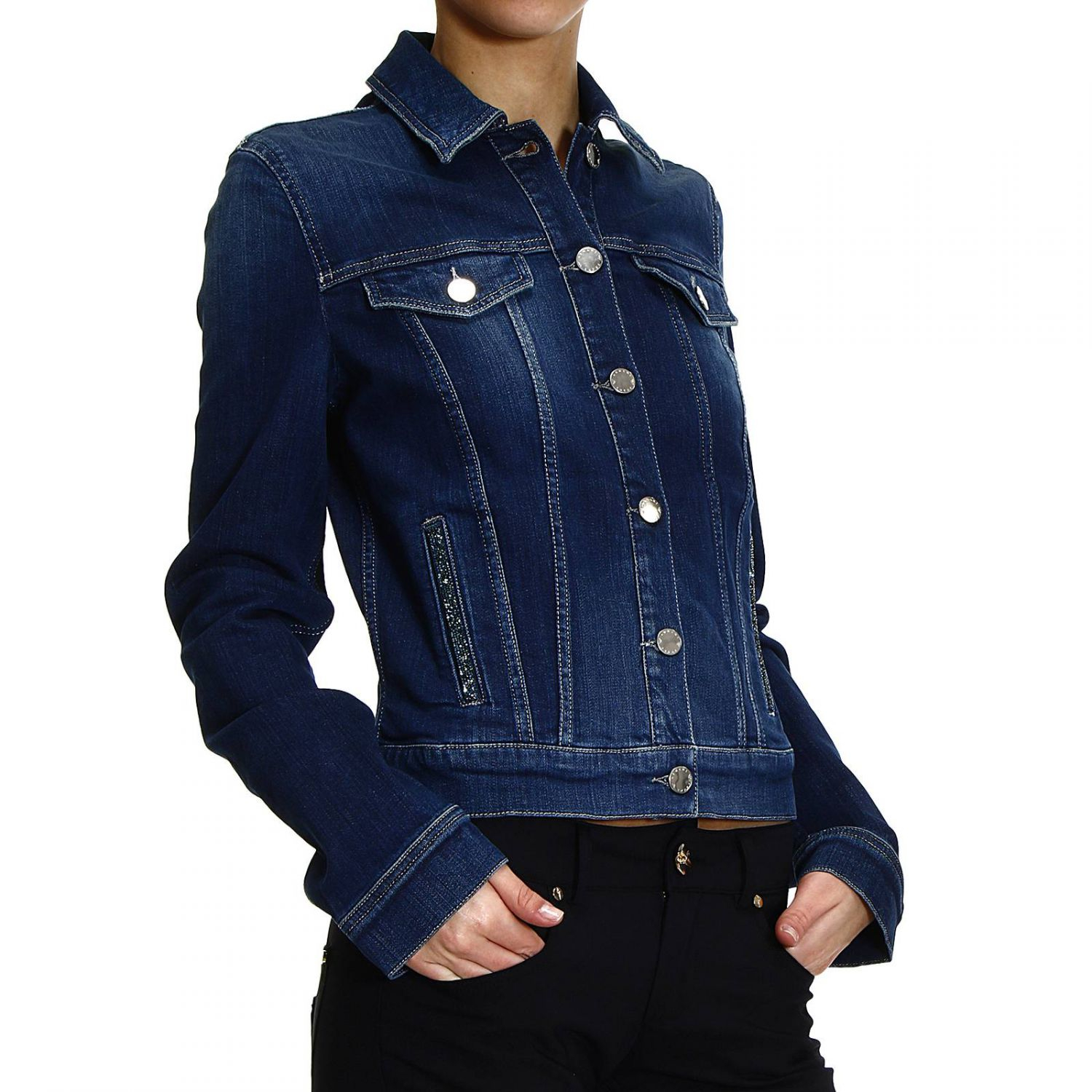 982eee9340 Lyst - Armani Jeans Jacket Denim With Strass in Blue