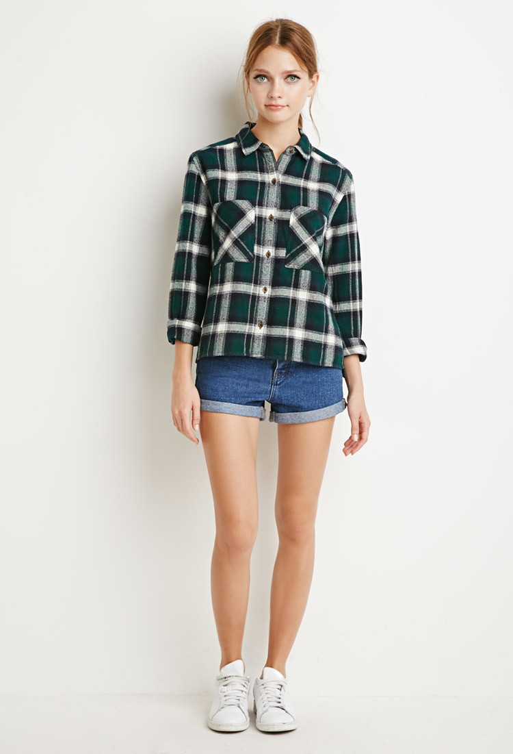 Forever 21 boxy plaid flannel shirt in green cream green for Flannel shirts for womens forever 21