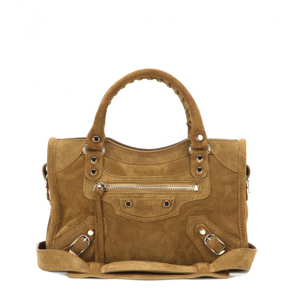 balenciaga classic mini city suede shoulder bag in brown lyst. Black Bedroom Furniture Sets. Home Design Ideas