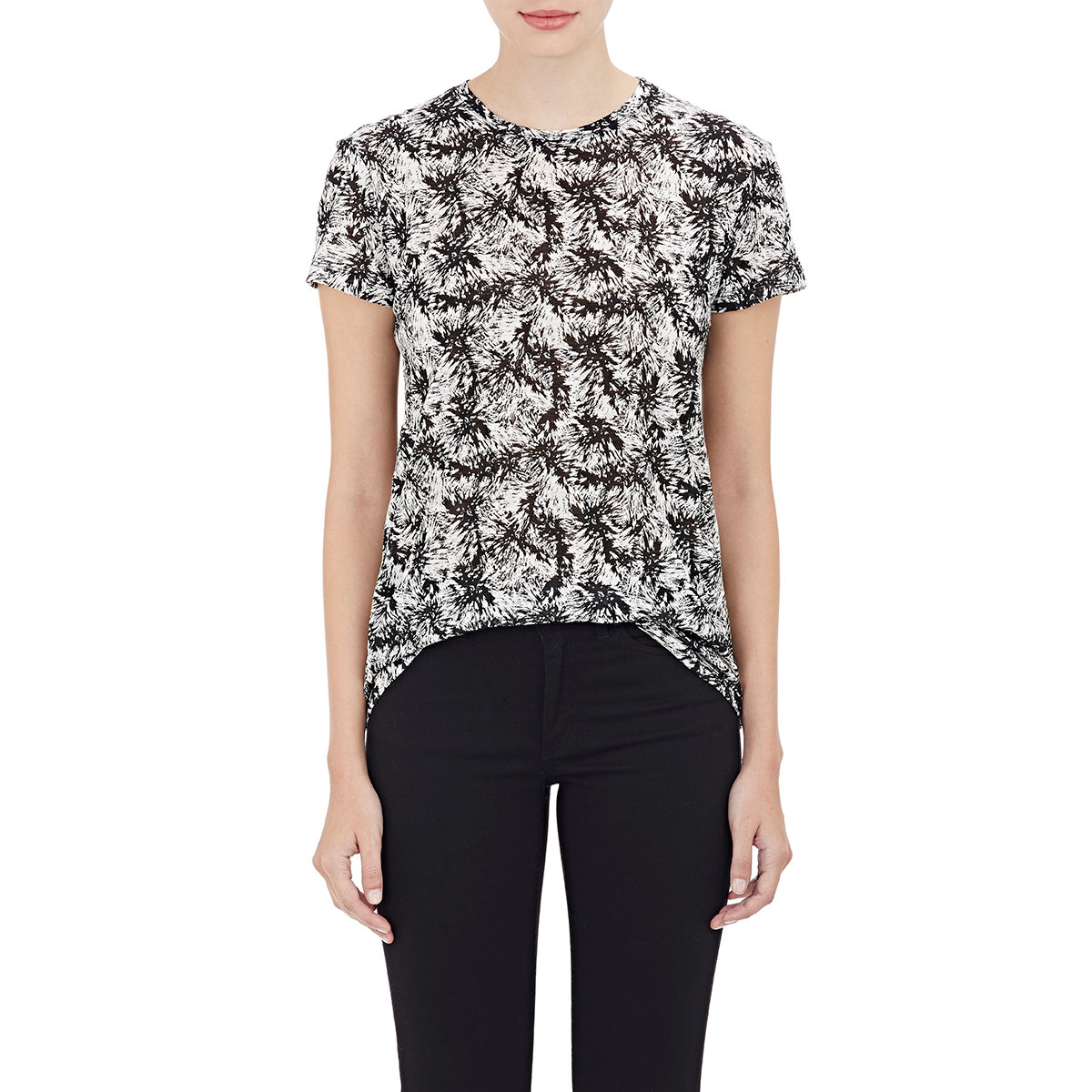 Proenza schouler slub jersey t shirt in black white lyst for What is a slub shirt