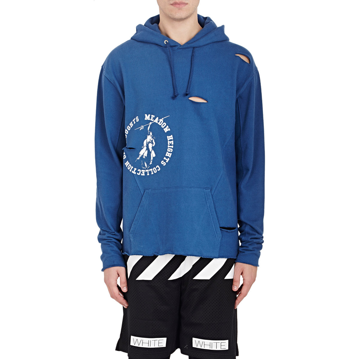 50ad3c68042b Lyst - Off-White c o Virgil Abloh Distressed French Terry Hoodie in ...
