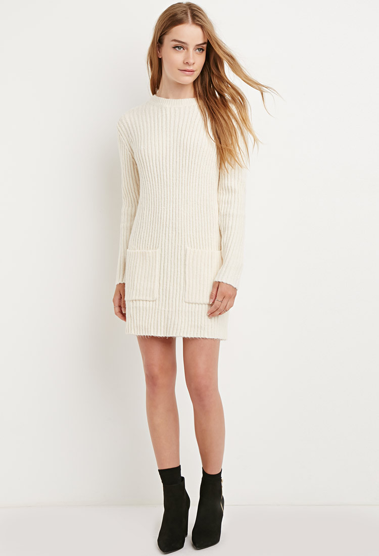 Forever 21 Chunky Ribbed Sweater Dress in Natural | Lyst