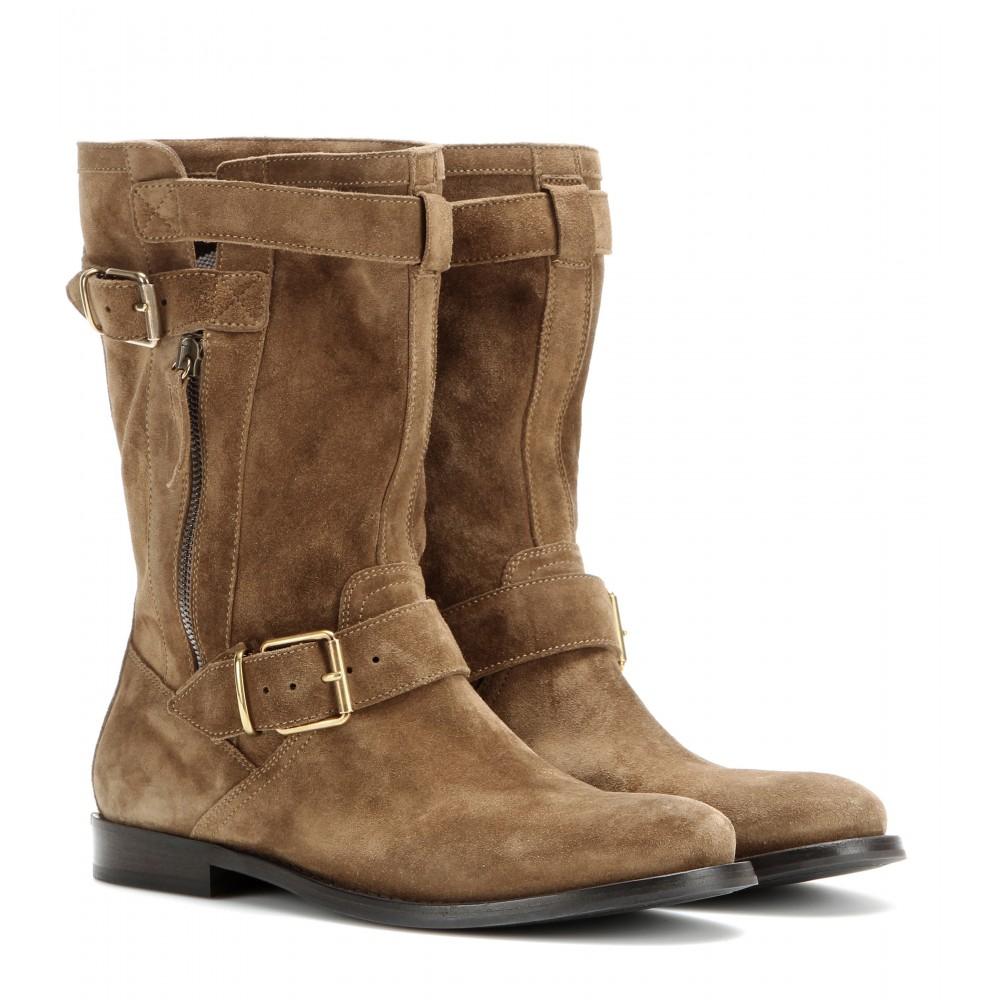 burberry brit grantville suede biker boots in brown oak