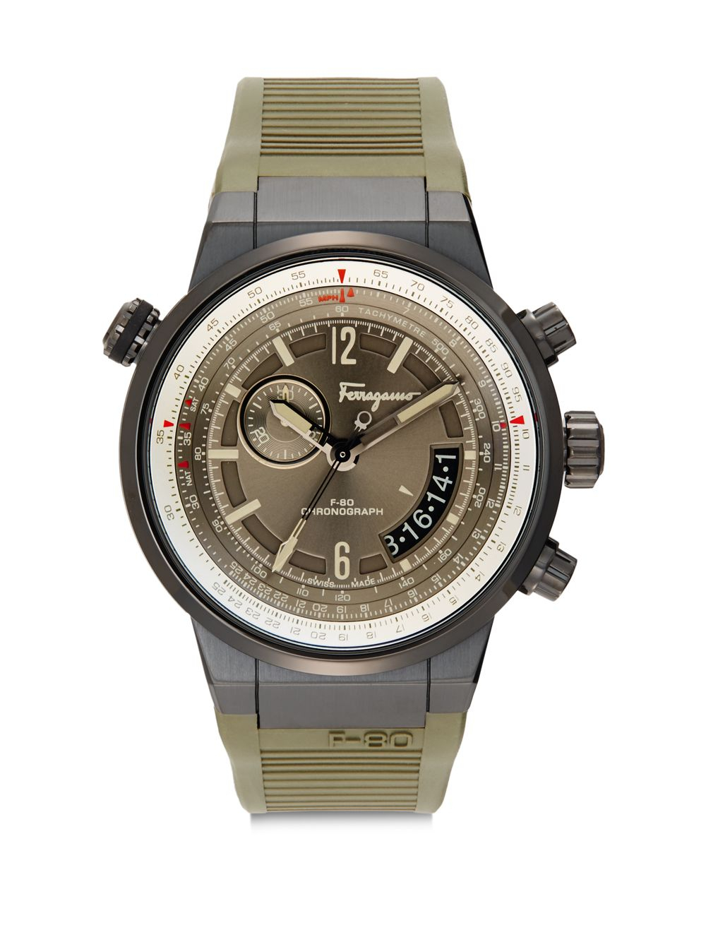 ferragamo stainless steel chronograph in gray