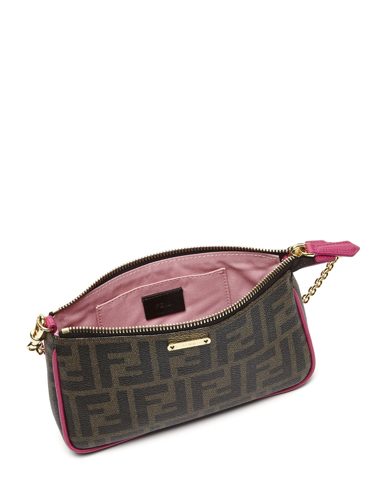 21fb64ee359 Lyst - Fendi Tobacco   Pink Zucca Small Pouch in Brown