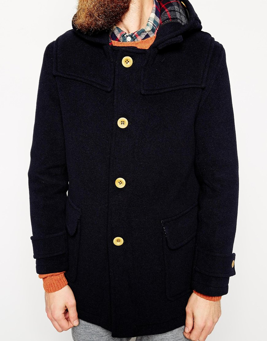 Gloverall Duffle Coat With Contrast Buttons - Exclusive in Blue ...