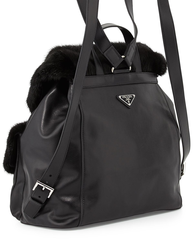 Prada Soft Calf \u0026amp; Mink Fur Backpack in Black | Lyst