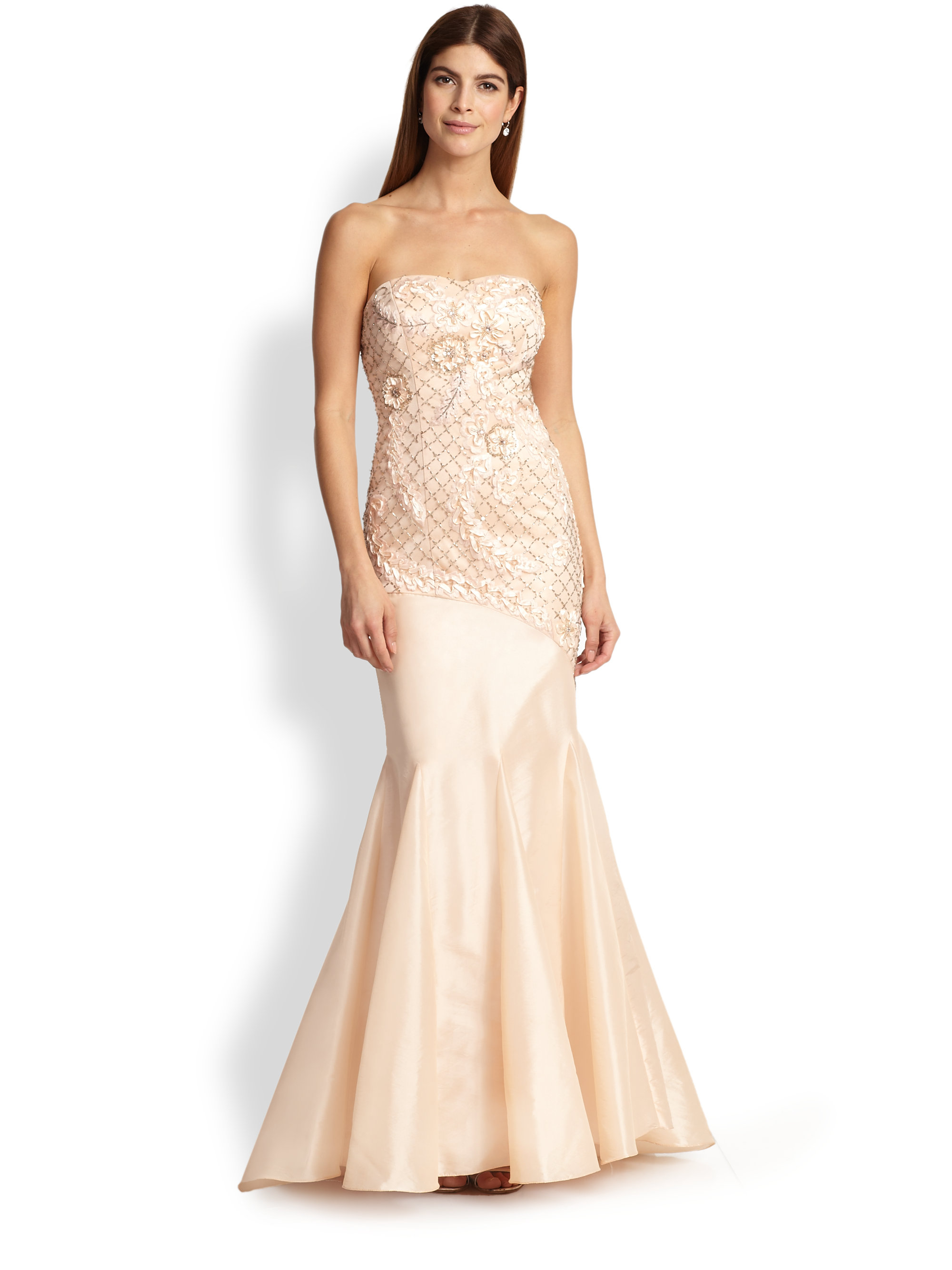 Lyst - Sue Wong Strapless Flower Applique Trumpet Gown in Natural