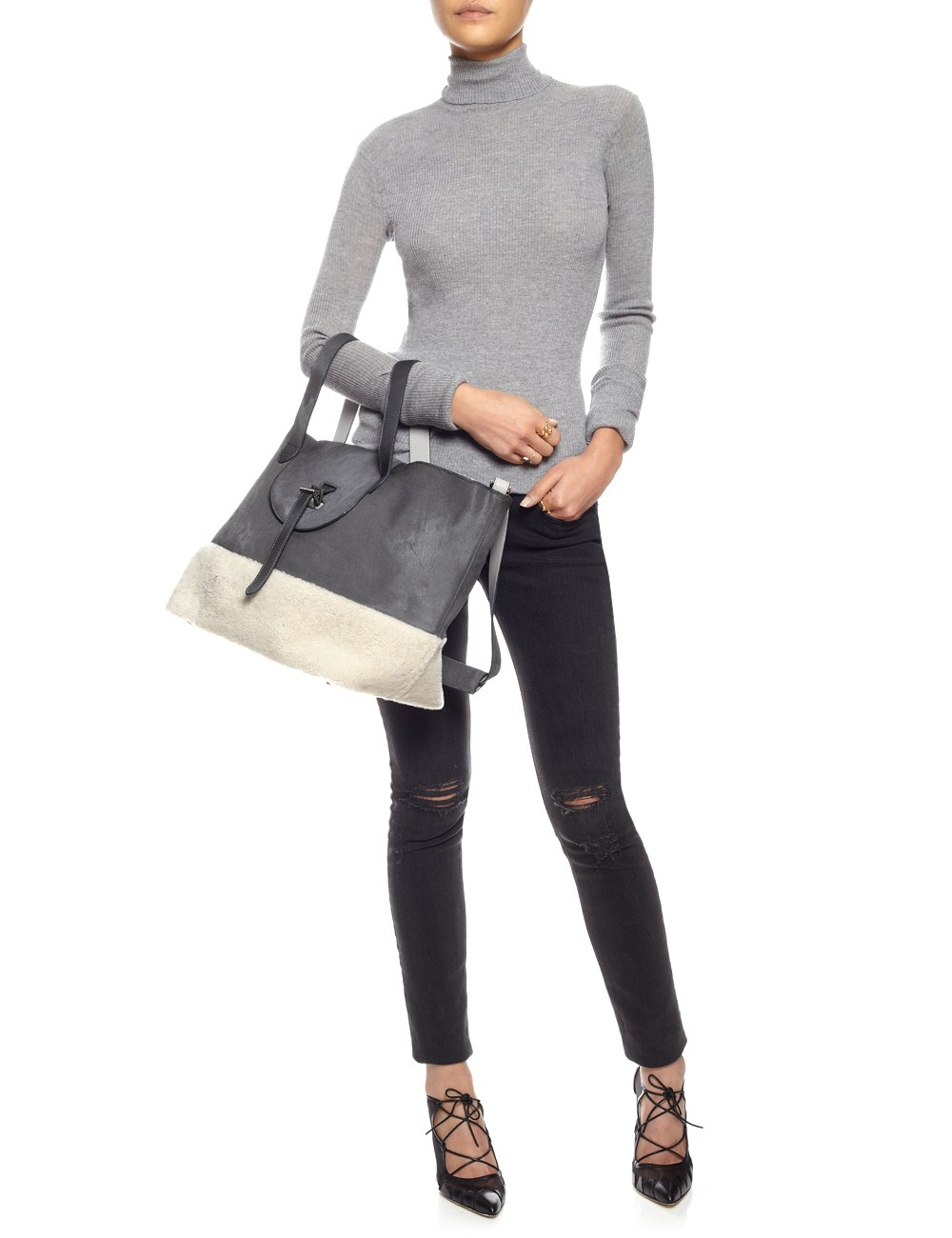 meli melo grey leather shearling thela bag in gray lyst. Black Bedroom Furniture Sets. Home Design Ideas