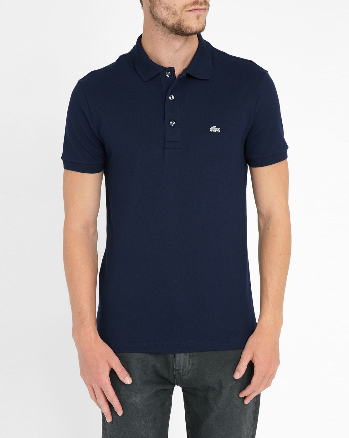 lacoste navy blue logo short sleeve slim fit elastane polo. Black Bedroom Furniture Sets. Home Design Ideas
